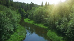 Aerial Drone Shot over Forest River in Bright Sunny Day - stock footage