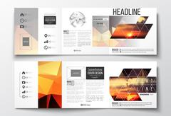 Set of tri-fold brochures, square design templates. Colorful polygonal backdrop - stock illustration