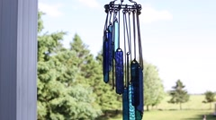 Stained glassed chimes swings in the wind Stock Footage