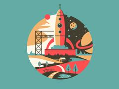 Rocket launch icon - stock illustration