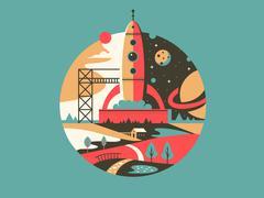 Rocket launch icon Stock Illustration