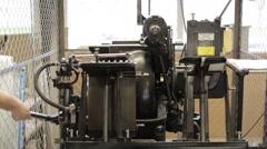 Wide shoot of beautiful old letterpress working Stock Footage