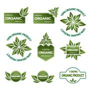 set of colored badges natural product - stock illustration
