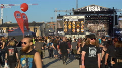 Crowds of fans of rock music on rock Festival. Stock Footage
