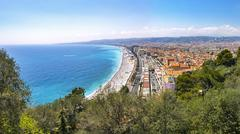 Beautiful panoramic view of beach in City of Nice, Cote d'Azure, France Stock Photos