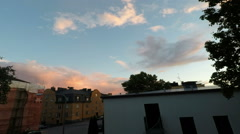 Timelapse of midnight daylight sky at midsummer in Stockholm Stock Footage