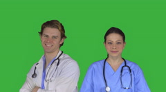 Doctor and a nurse smile (Green Key) Stock Footage