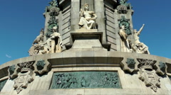 Monument of Christopher Columbus in Barcelona, tilt Stock Footage
