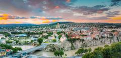 Evening View Of Tbilisi At Colorful Sunset. Georgia. Summer City - stock photo