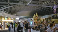 Artistic Display of Mythical Beings at Suvarnabhumi Airport in Bangkok Stock Footage