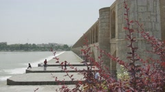 Isfahan Zayandeh River from Khaju Bridge Stock Footage