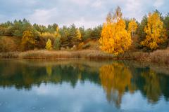 Beautiful Lake Or River And Forest. Autumn Season - stock photo