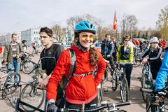 Young caucasian woman at opening of the cycling season in Gomel - stock photo