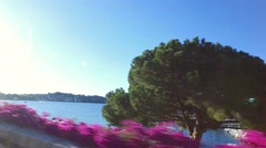 Driving along the seaside near Villefranche Stock Footage