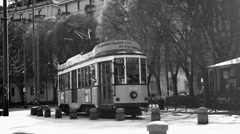 Black and white: MILAN, ITALY- MARCH 22, 2016: Old vintage yellow tram №1881 Stock Footage