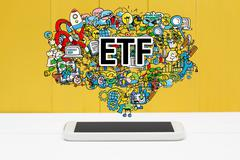 ETF concept with smartphone Stock Photos