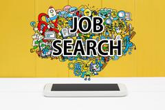 Job Search concept with smartphone - stock photo