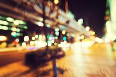 Defocused abstract city background - stock photo