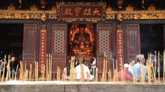 People pray at the Big Wild Goose pagoda in Xian, China. Stock Footage
