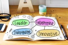 Entrepreneur concept with notebook Stock Photos