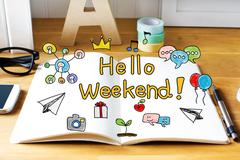 Hello Weekend concept with notebook Stock Photos