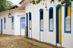 streets of the historical town Paraty Brazil - stock photo
