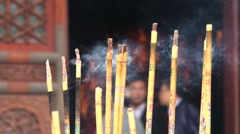 View to the burning incense at the Big Wild Goose pagoda in Xian, China. Stock Footage