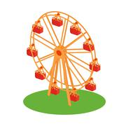 Ferris Wheel Attraction Illustration - stock illustration