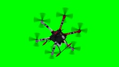 Drone Hexacopter with Camera in flight - green screen Stock Footage