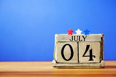 4th of July theme with wood block calendar Stock Photos