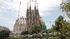 Panoramic view of Sagrada Familia Temple. Stock Footage