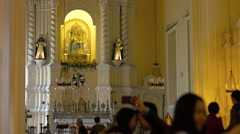 Interior of Saint Anthony's Church in Macau, China. 4k UltraHD video Stock Footage