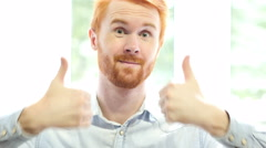 Thumbs up by Both Hands, Successful Positive Young Man Portrait Stock Footage