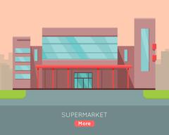 Shopping Mall Web Template in Flat Design Piirros