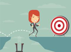 Jump the gap and achieve his goal. - stock illustration