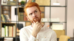 Thoughtful in office, Businessman Thinking about new project Stock Footage