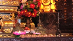 View to the altar below the Buddha image in Xian, China. Stock Footage