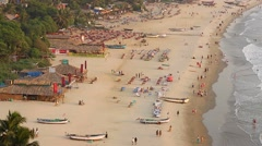 Aerial view of Arambol beach in Goa state, India Stock Footage