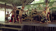 Native Folk Dancers Perform an Energetic Presentation in Borneo, Malaysia - stock footage