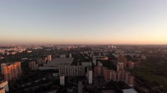 Houses with bird's-eye view in a residential area of Moscow, Russia. Stock Footage