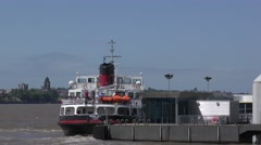 Ferry across The Mersey Liverpool to Birkenhead Stock Footage