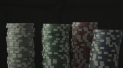 Casino chips stacks grow Stock Footage