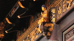 Wooden carved door at the Big Wild Goose pagoda in Xian, China. Stock Footage