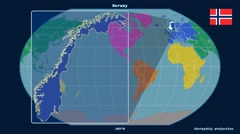 Norway - 3D tube zoom (Kavrayskiy VII projection). Continents Stock Footage