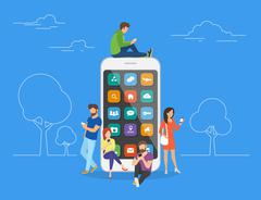 People with gadgets using smartphones outdoors Stock Illustration