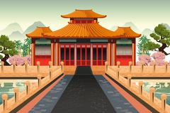 Chinese Temple Background - stock illustration
