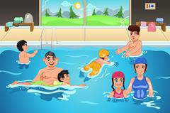 Kids Having a Swimming Lesson Stock Illustration