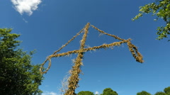Midsummer fertlity pole - Stockholm in Summer sunshine Stock Footage