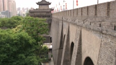 View to the gate and tower of the Great Wall in Xian, China. Stock Footage