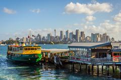 Sydney skyline with ferries Kuvituskuvat